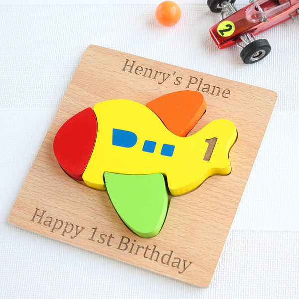 Personalised Wooden Plane Jigsaw Puzzle Toy