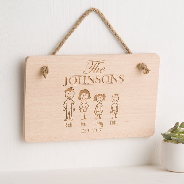 Family Member Personalised Engraved Wooden Hanging Plaque / Sign