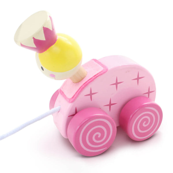 Left | Personalised Pink Princess Wooden Pull Along Toy