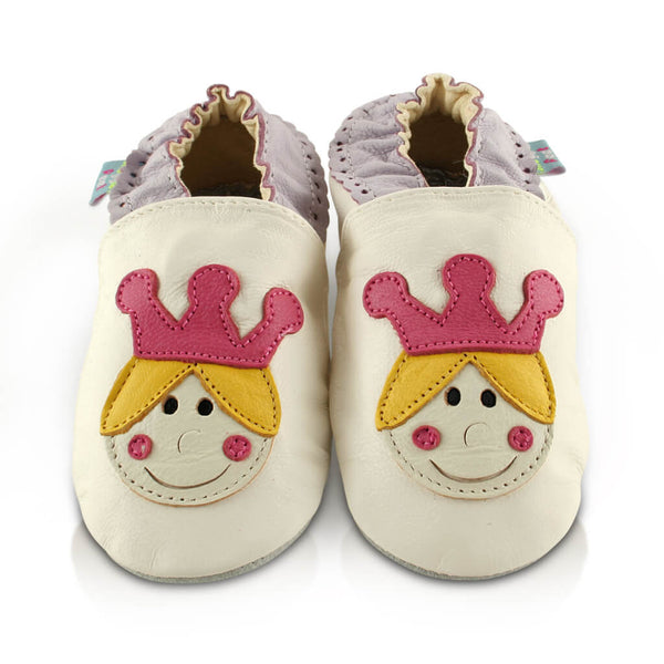 Princess Crown Soft Leather Baby Shoes | Front View | Girls | White