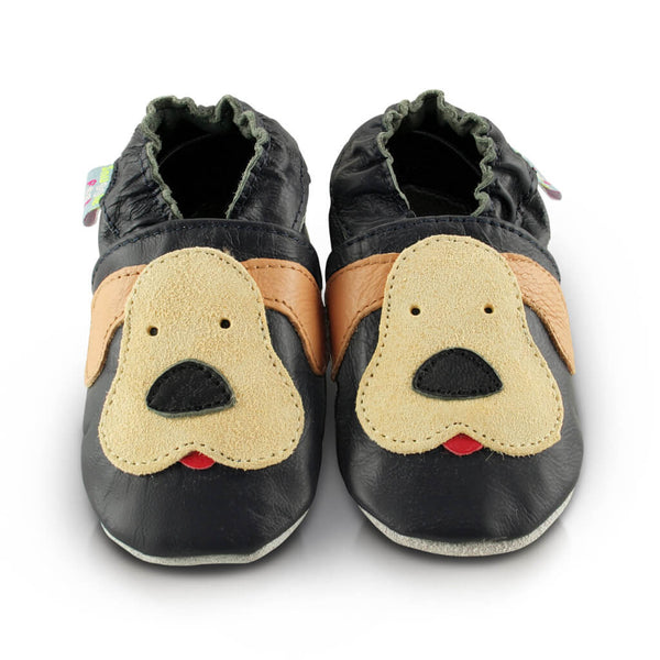 Playful Puppy Soft Leather Baby Shoes | Front View | Boys | Navy