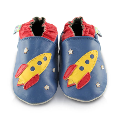 Rocket Soft Leather Baby Shoes | Front View | Boys | Blue