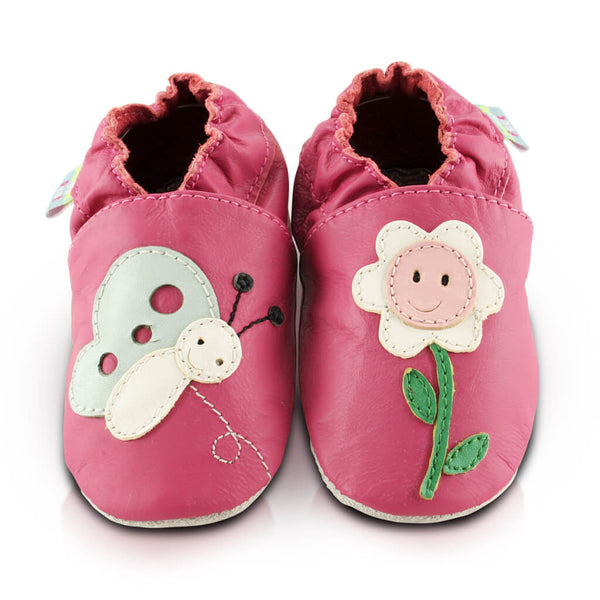 Smiley Flower Soft Leather Baby Shoes | Front View | Girls | Pink