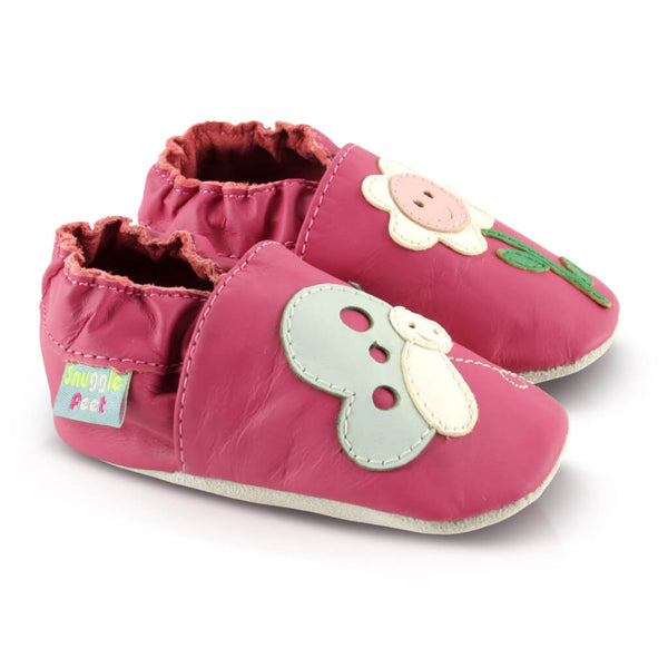 Smiley Flower Soft Leather Baby Shoes | Side View