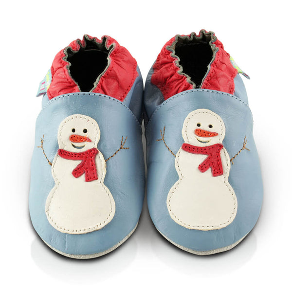 Snowman Soft Leather Baby Shoes | Front View | Boys | Blue