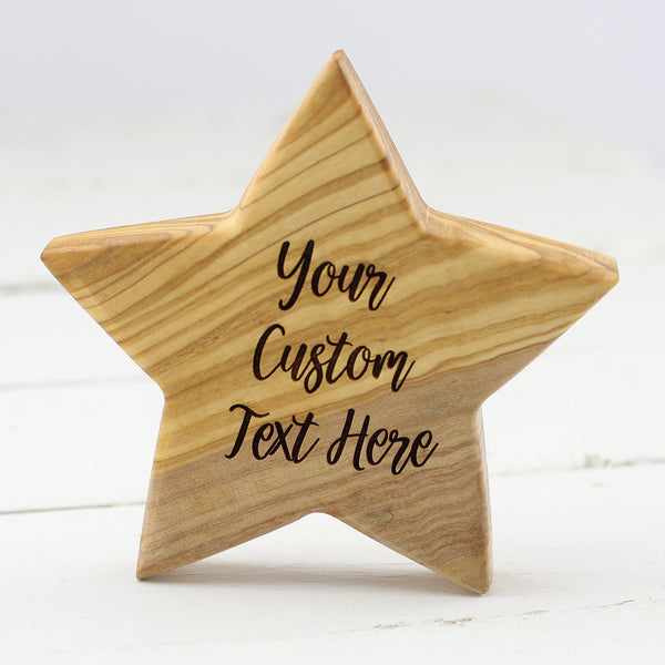 Custom Personalised Olive Wooden Birth Star