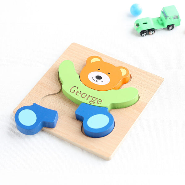 Personalised Wooden Teddy Jigsaw Puzzle Toy | Green Truck