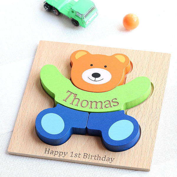 Personalised Wooden Teddy Jigsaw Puzzle Toy