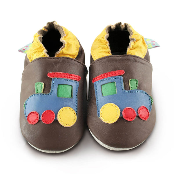 Train Soft Leather Baby Shoes | Front View | Boys | Brown