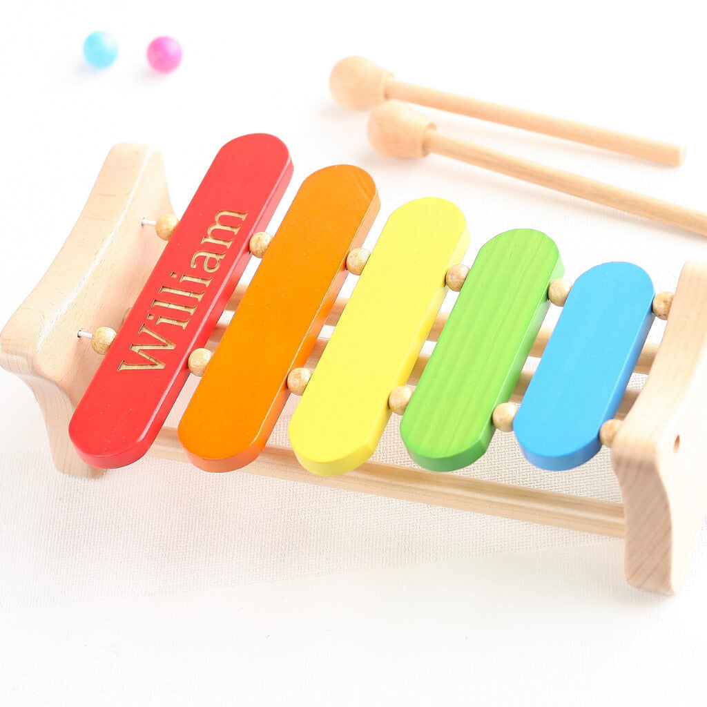 Wooden Rainbow Xylophone Sticks ~ Personalised wooden rainbow musical xylophone toy