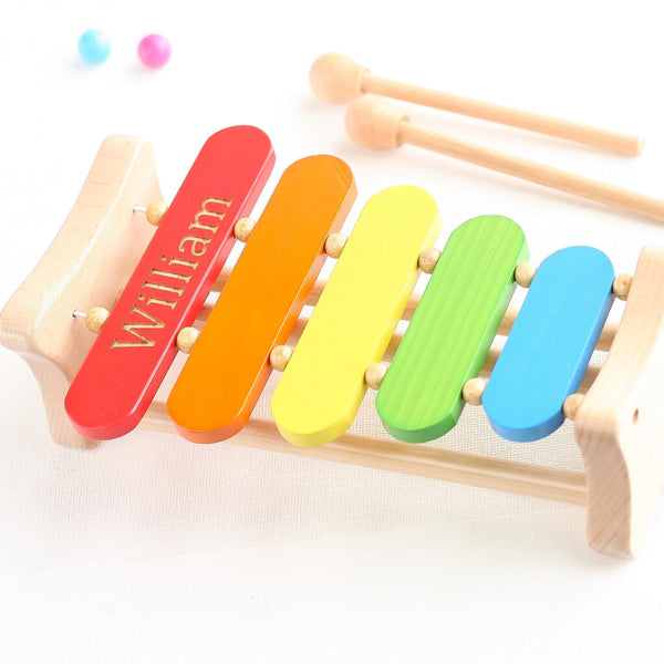 Personalised Wooden Rainbow Musical Xylophone Toy | Photo 2