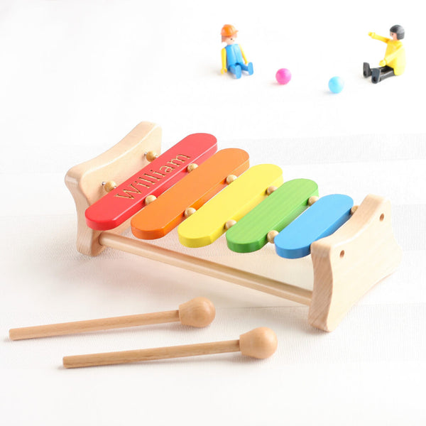 Personalised wooden rainbow musical xylophone toy