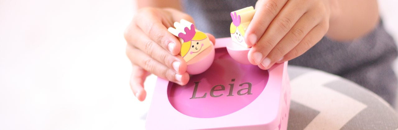 Leia with Princess music box, engraved personalised gifts