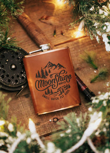 Moonshine Embossed Leather Flask