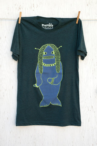 3 Monsters Hair Fish - Black Aqua Unisex T-shirt