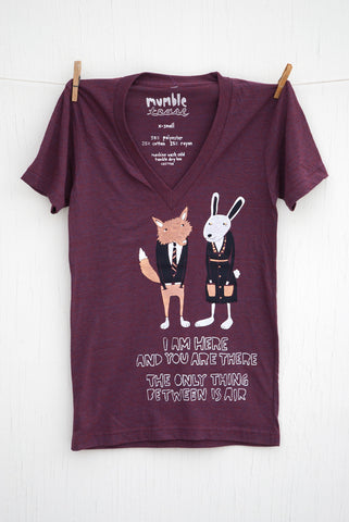 The Air Between: Fox and Bunny - Cranberry Unisex Deep V-neck T-shirt