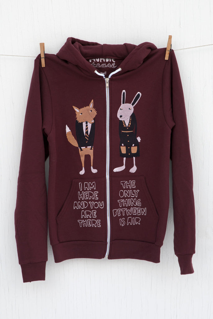 The Air Between: Fox and Bunny - Truffle Unisex Zip-up Hoodie