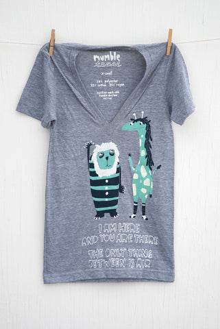 The Air Between: Lion and Giraffe - Grey Unisex Deep V-neck T-shirt