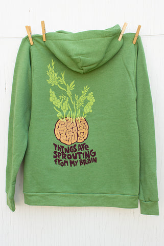 Sprouting Brain - Kiwi Unisex Zip-up Hoodie