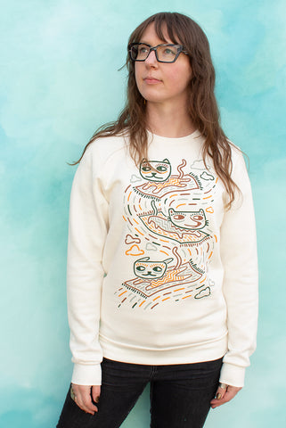 Carpet Cats - Cream Unisex Fleece Pullover