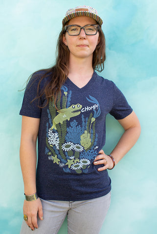 The Shark says Chomp! - Denim Navy Unisex V-neck