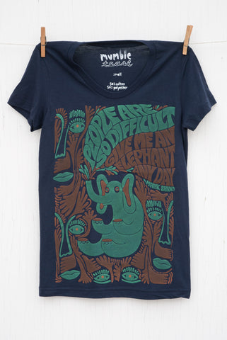 Elephants Any Day - Navy Women's T-shirt