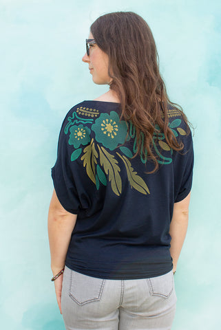 Floral Collar - Navy Women's Top
