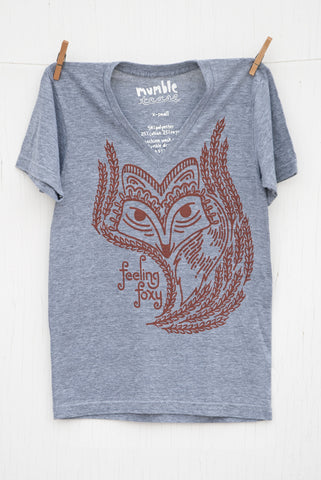 Feeling Foxy - Grey Unisex V-neck