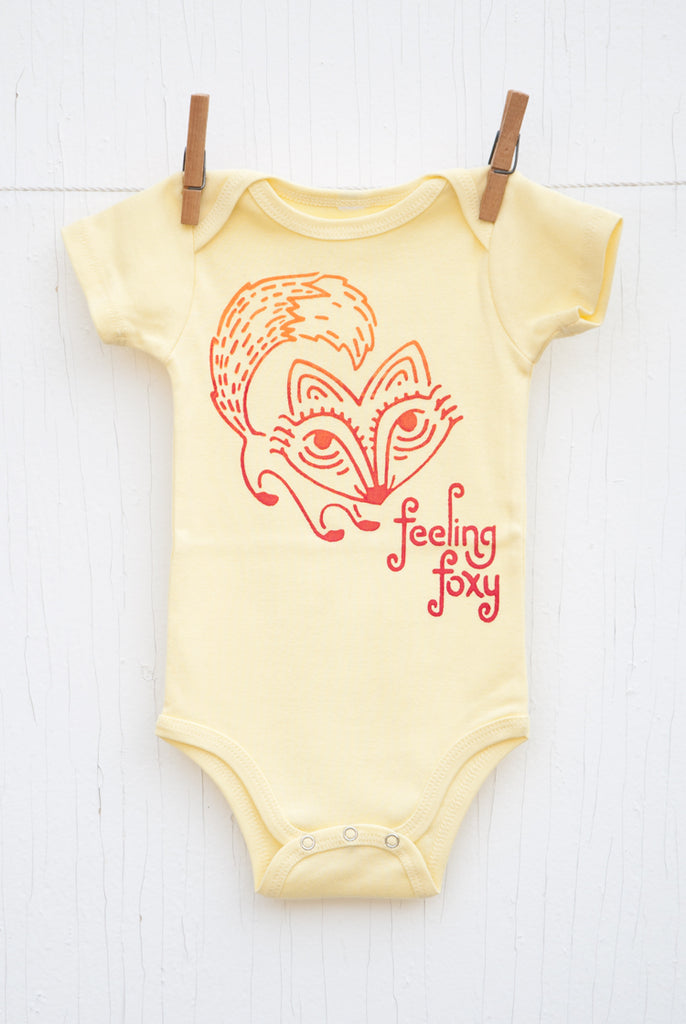Feeling Foxy - Pale Yellow Infant Onesie