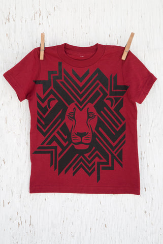 Geometric Lion - Cranberry Kid's T-shirt