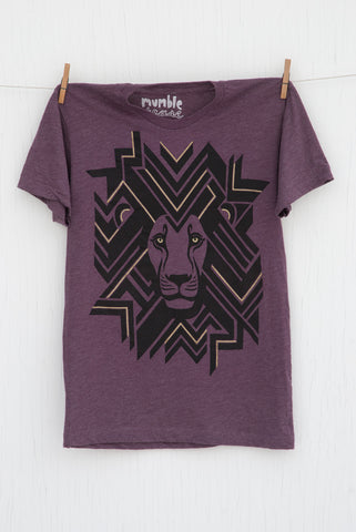 Geometric Lion - Plum Unisex T-shirt