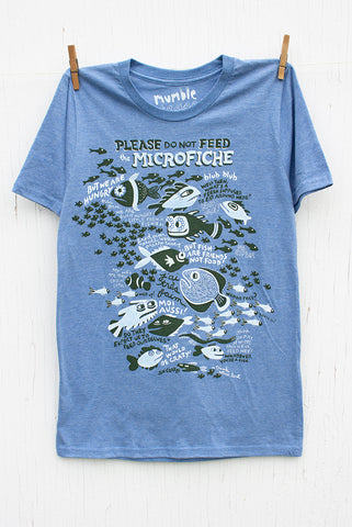 Please Do Not Feed the Microfiche - Blue Men's T-shirt