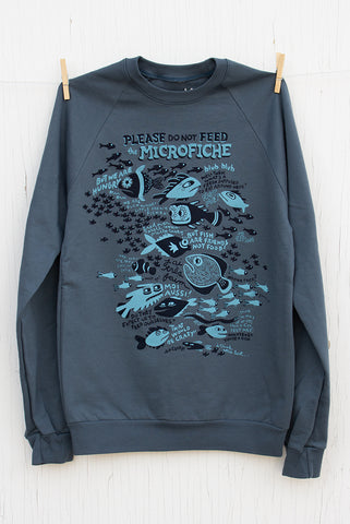 Please Do Not Feed the Microfiche - Pacific Blue Unisex Pullover