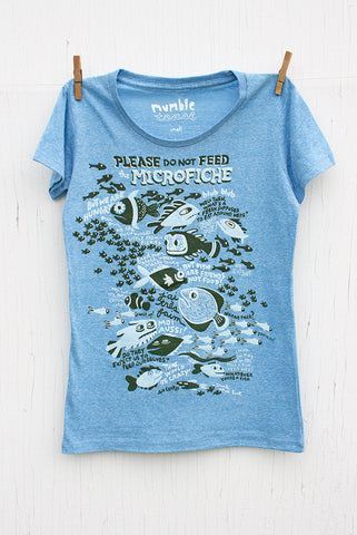Please Do Not Feed the Microfiche - Pool Blue Women's T-shirt