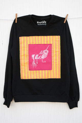Monkey Unicorn - 120 Medium Black Unisex Fleece Pullover