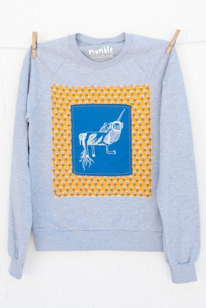 Monkey Unicorn - 100 Small Grey Unisex Fleece Pullover