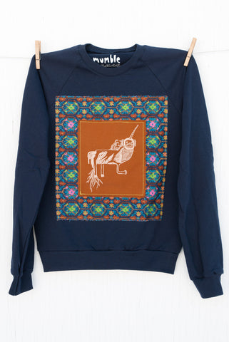 Monkey Unicorn - 108 Small Navy Unisex Fleece Pullover