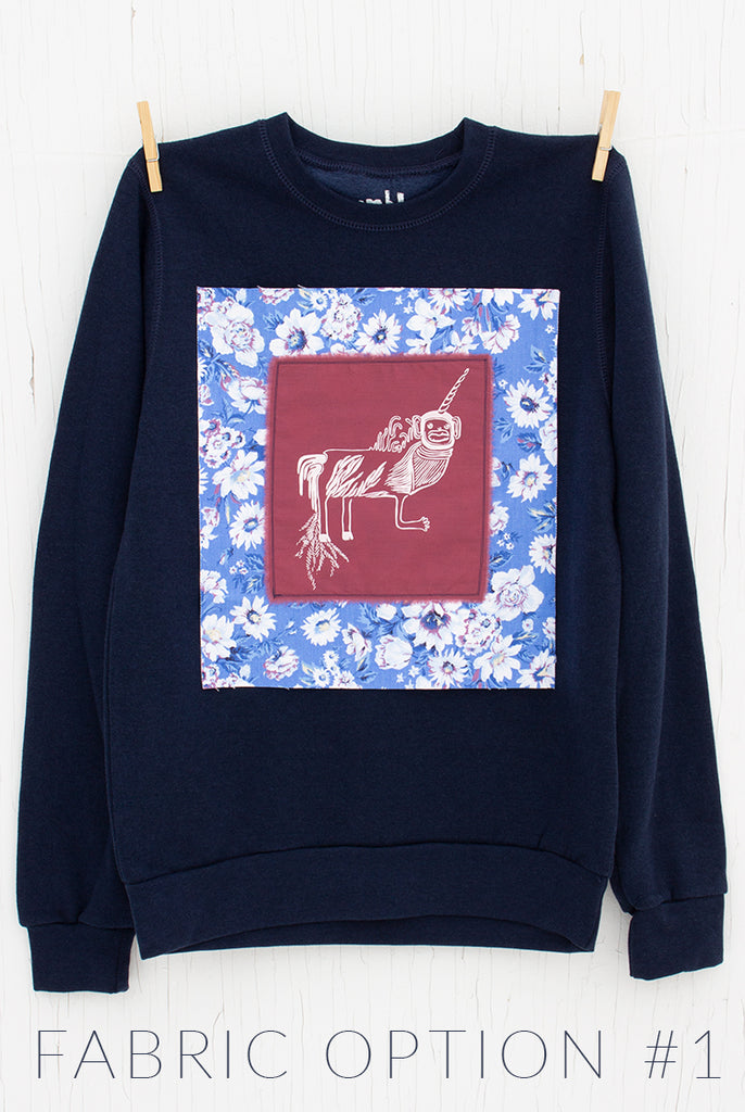 Monkey Unicorn - Made to Order Navy Unisex Fleece Pullover with Custom Appliqué