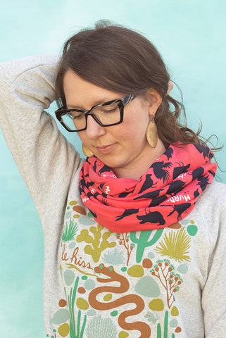 Murder of Crows - Coral Silk Screened Circle Scarf