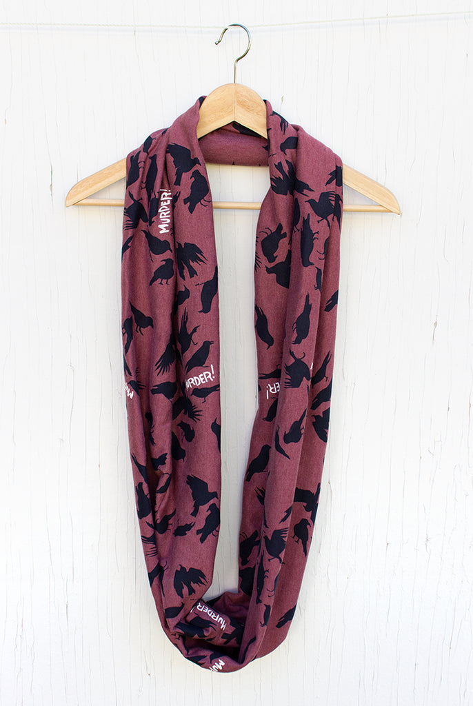 Murder of Crows - Sangria Silk Screened Circle Scarf