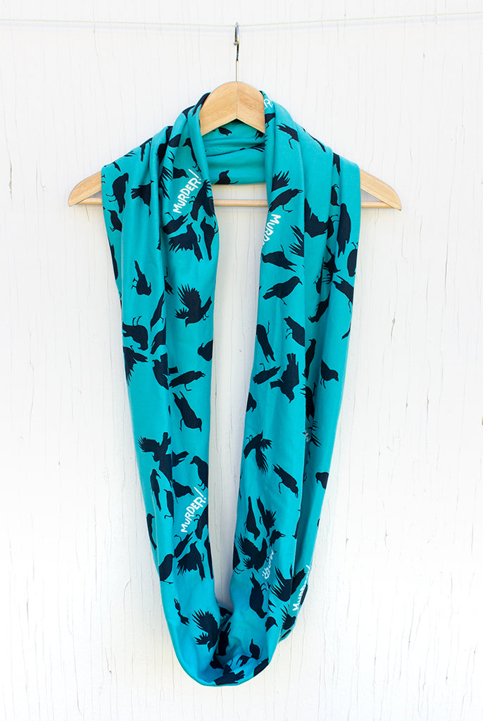Murder of Crows - Teal Silk Screened Circle Scarf