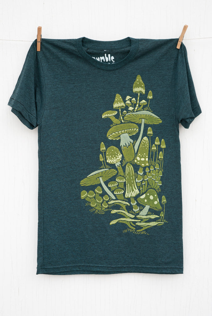 Mushrooms - Black Aqua Unisex T-shirt