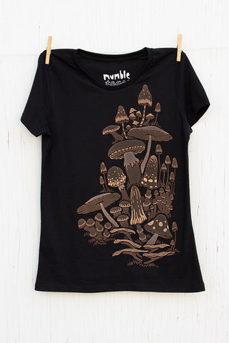 Mushrooms - Black Women's T-shirt