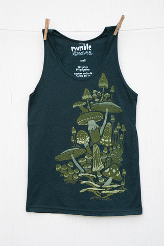 Mushrooms - Black Aqua Unisex Tank