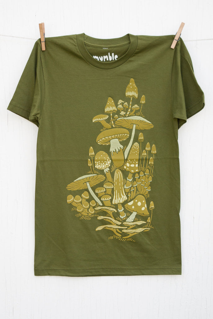 Mushrooms - Olive Unisex T-shirt