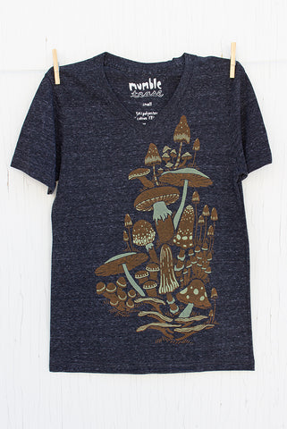 Mushrooms - Onyx Unisex V-neck