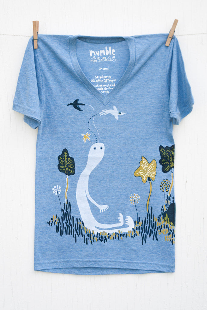 Bird Head Ned - Blue Unisex V-neck