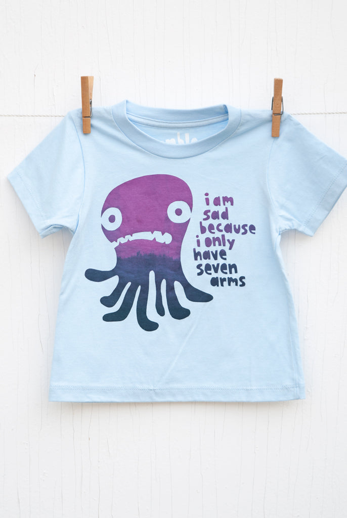 Sad Seven Armed Octopus - Light Blue Kid