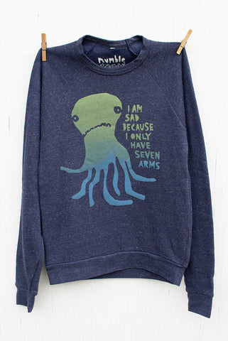 Sad Seven Armed Octopus - Blue Denim Unisex Fleece Pullover