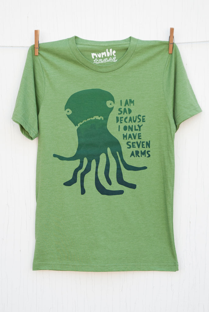 Sad Seven Armed Octopus - Kiwi Unisex T-shirt